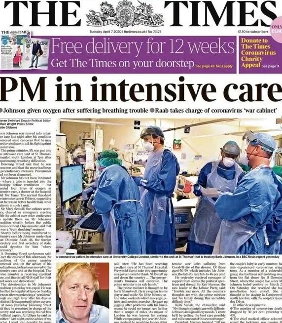 英国主流媒体如何报道英国首相入住ICU